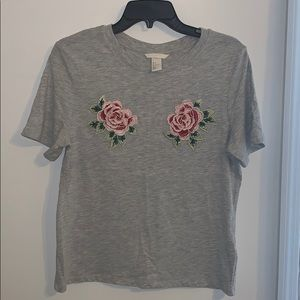 H&M Rose Embroidered T-shirt